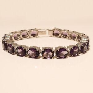 Natural Brazilian Amethyst Tennis Bracelet 925 Sterling Silver New Year Jewelry