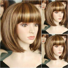 HE-J0319 Charming short brown blonde straight hair wig wigs for modern women