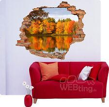 3D Wandbild |WALD BACH| Aufkleber Wandtattoo Mauerdurchbruch Sticker Deko