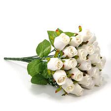 Artificial 24 Heads Rose Silk Flowers Leaf Bridal Bouquet Wedding Party Decor