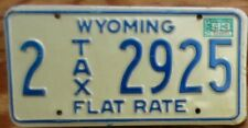 1983 Wyoming Flat Rate Tax License Plate 2 2925