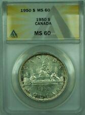 1950 Canada Dollar $1 Silver Coin ANACS MS-60