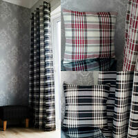 Pair of Eyelet Tartan Checked Stripe Ready Made Lined Curtains Black Red Natural