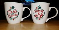 Set of 2 Pfaltzgraff Christmas Mugs Winterberry Pattern ~EUC~