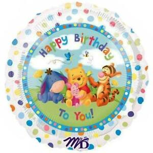 Baby Pooh & Friends Happy Birthday To You Mylar Foil Balloon Dots Party Supplies