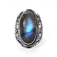 Blue Fire Labradorite Handmade Women Ring, 925 Sterling Silver Jewelry Ring SZ 7