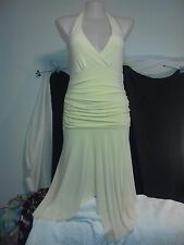 Yaly Couture Ladies Dress in a Lemon Yellow Halterneck Size 16 NWTO