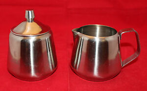 Oneida Astrid 18/8 Stainless Steel Creamer and Sugar Bowl Pot Lid Made in Japan