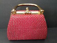 VINTAGE Red Sparkled & Gold Tone Closure & Handle Evening Occassion Handbag