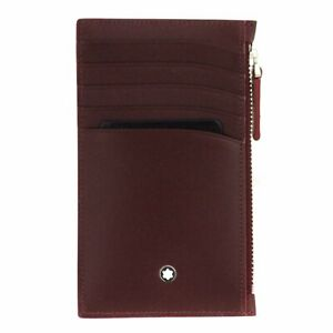 Card holder Montblanc Meisterstuck 118315 5 slots in burgundy leather with zip
