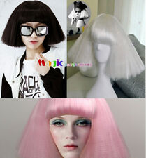 Short Kinky Straight Lady Gaga Wig Black White Pink Synthetic Anime Cosplay Wig