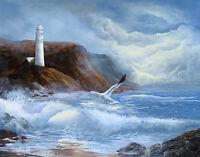 Large Original Oil Painting Lighthouse Seascape Ocean Waves Beautiful Framed