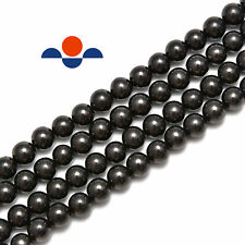 """Natural Shungite Smooth Round Beads 4mm 6mm 8mm 10mm 12mm 15.5"""" Strand"""