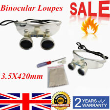 Dental Surgical Medical Binocular Loupes 3.5X 420mm Magnifying Glass Lens UK