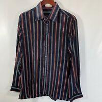 Herbie Frogg London Dress Shirt Size 42 Size 16 Navy Blue Striped Silk