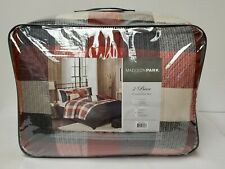 Madison Park Ridge King Size Ultra Soft Microfiber Plaid Red Bed Comforter Set