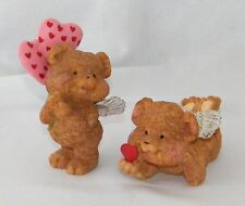 Set of 2 . Brown Ceramic Valentines Day Angel Teddy Bears w/ Wings & Hearts