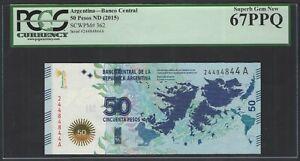 Argentina  50 Pesos ND(2015) P362 Uncirculated Graded 67