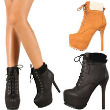 NEW Lace Up Faux Fur Cuff Combat Ankle Booties Boots High Stiletto Heel Platform
