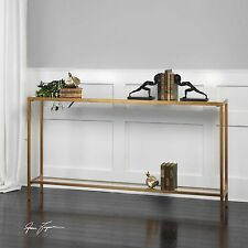 "Geometric Console Table Antique Gold 60"" Metal Glass Top Iron Sofa Hall Accent"