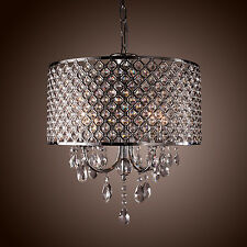 Drum Chandelier Crystal Modern 4 Lights Ceiling Light Fixture Lamp Pendant Light
