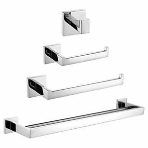 Turs 4-Piece Bathroom Accessory Set SUS 304 Stainless Steel Toilet Paper Holder