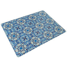 40cm Glass Kitchen Worktop Saver Blue & White Tile Chopping Board Protector