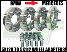5x120 TO 5x112 WHEEL ADAPTERS 20MM + 20 LUG BOLTS 12X1.5 STUD | BMW TO MERCEDES