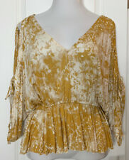 Free People Top Blouse Shirt Yellow V Neck Slit Sleeve Pullover Women's MED NWT