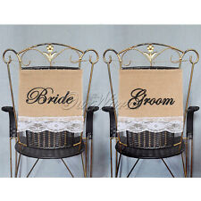 Jute Hessian Bride & Groom Rustic Burlap Lace Chair Signs Banner Wedding Decor