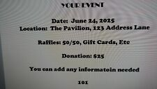 100 Custom Printed Numbered Event Tickets, weddings, fundraisers, church, partys