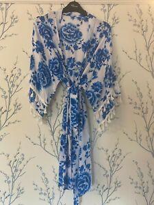 Boo Hoo Wedgewood blue/white Robe Kimono Dressing Gown with tassles ANY NAME