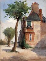 HOUSES & BUILDINGS IN LANDSCAPE Antique Watercolour Painting c1920