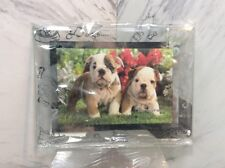 """Glass Dog Frame with Silver Etching  4X6 """"  NEW"""