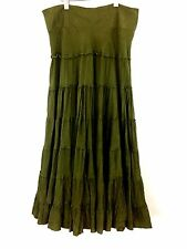 FEI Anthropologie Maxi RARE Size 12 Tiered 100% Silk Long Green Full Skirt Boho