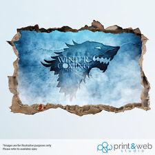 Game Of Thrones House Stark Wall Smash Decal Sticker 3D Bedroom Vinyl Mural Art