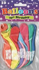 10 x HAPPY 70TH BIRTHDAY BALLOONS MULTI  COLOUR  PARTY DECORATIONS  (SE)