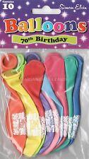 10 X Felice settantesimo compleanno palloncini Multi colore Festa Decorazioni (se)