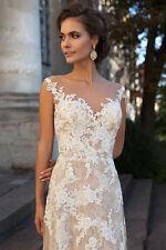 2017 White/Ivory A-Line Lace Wedding Dress Custom Size 4-6-8-10-12-14-16-18