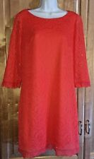 London Times Women 10 Orange 3/4 Sheer Sleeve Lined Fringe A-Line All Lace Dress