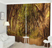 2 Panel 3D Mountain Road Scenery Dinosaur Window Curtains Blockout Drapes Fabric