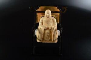 L7676: Japan Wooden Lacquer ware BUDDHIST STATUE sculpture Ornament Buddhist art
