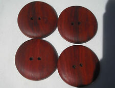One Handmade Red Heart Timber Button, 30mm Round, Item 223