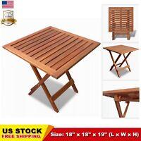 Outdoor Folding Square Coffee Side Table Acacia Wood Patio Deck Garden Durable