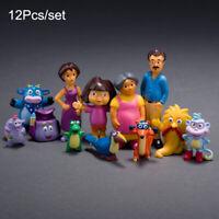 12Pcs Dora the Explorer PVC Action Figure Toy Cake Topper Set Toys Kids Gift UK