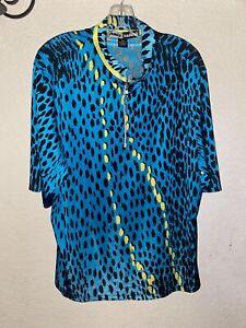 JAMIE SADOCK Bright Teal Black Yellow Short Sleeve 1/4 Zip Golf Shirt Top XXL