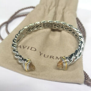 David Yurman Sculpted Citrine 10mm Wide Cuff Bracelet