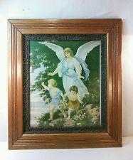 Vtg wood Ornate Framed BEAUTIFUL Guardian Angel Watching over Children Print