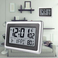 Digital LCD Wall Clock Temperature Snooze Alarm Atomic Indoor Battery Operated