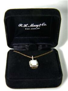 "Macy's 10K Yellow Gold Diamond Halo Blazing Fires Lab-Opal Pendant and 20"" Chain"